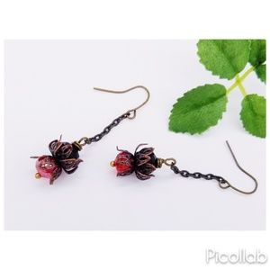 Red and Black Czech Crystal Earrings